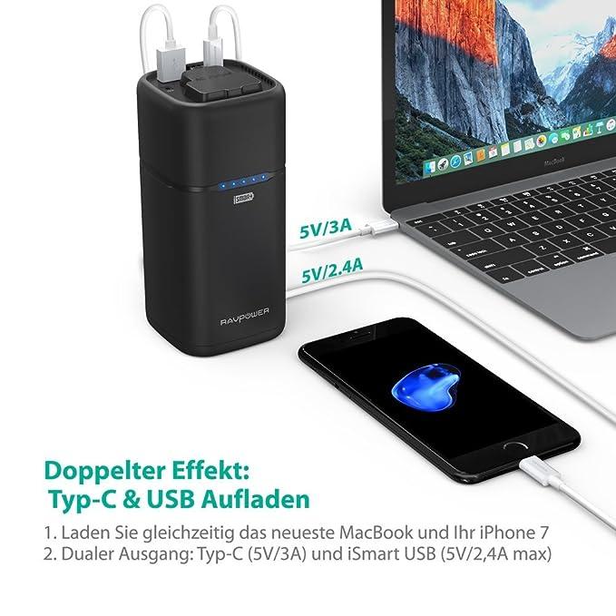 RAVPower Batería portátil, 65 W, 20.100 mAh, salida CA para electrodomésticos; con puertos tipo C, USB y iSmart, compatible con portátiles, MacBooks, ...