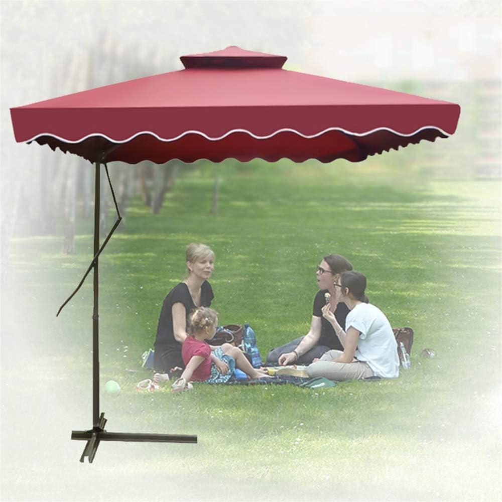 Patio Cantilever Umbrellas Offset Hanging Umbrellas with Flaps Outdoor Garden Market Umbrella with Crank & Cross Base(7/8 Ft)