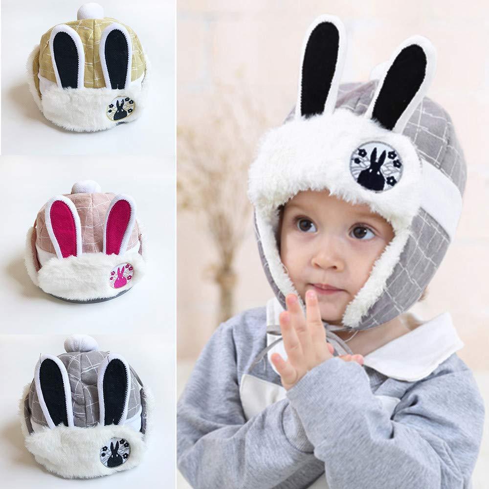 Amazon.com  Toddler Kids Trooper Faux Fur Winter Hat Rabbit Ears Plaid Earflap  Beanie Hats for Baby Boys Girls (Gray)  Clothing d1effa48f355