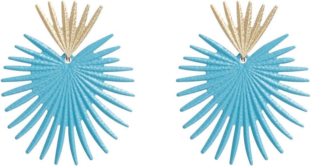 Allshiny Pendientes Pendientes de Textura de Metal de Temperamento de Oreja de Algas de Coral de Europa y los Estados Unidos aretes de Viento de Playa Fresca aretes de Viento de Mujer (Color : Blue)