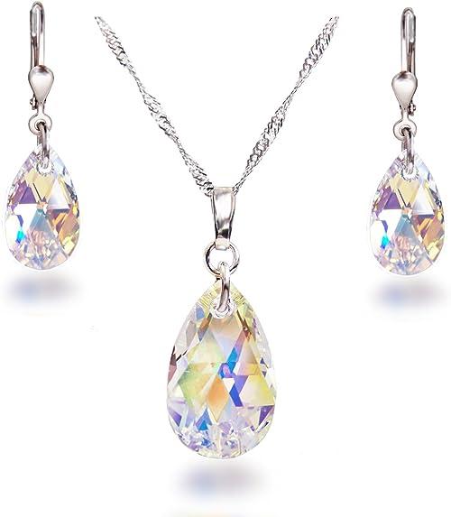 Schöner SD, Ensemble de bijou avec gouttes de cristal Swarovski® en cristal  Aurora Boreale, argent 925 rhodié