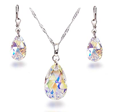 Schöner SD jewellery set with Aurora Borealis Swarovski® crystal teardrops, 925