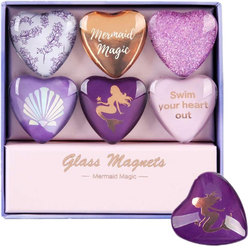 Purple Fridge Magnets Set of 6 Love Heart Glass Refrigerator Magnet Sticker Use at Home Kitchen School Office for Fridge Dry Erase Board and Whiteboard (Purple Mermaid Style)