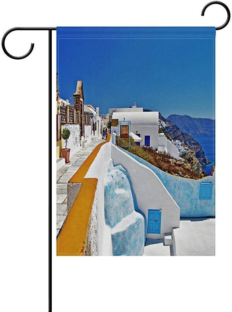 Not Applicable Grecia Santorini Caldera Bandera de jardín de Doble Cara 12.5