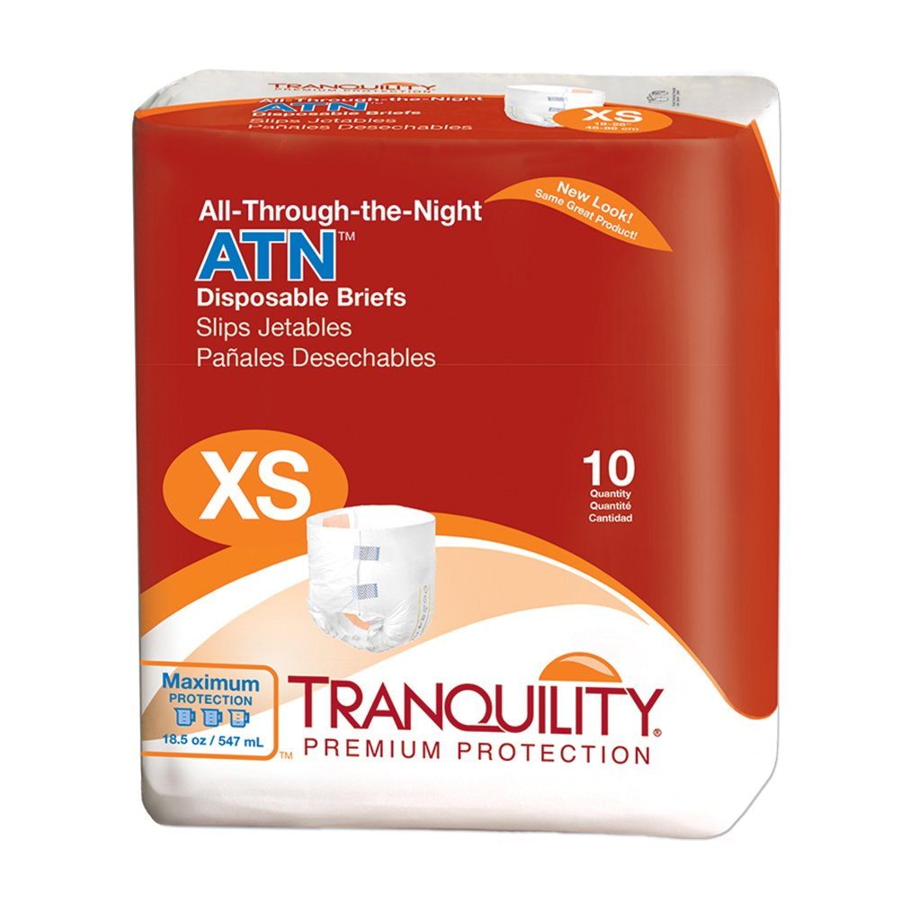 Tranquility ATN™ (All-Through-the-Night) Adult Disposable Briefs - XS - 10 ct