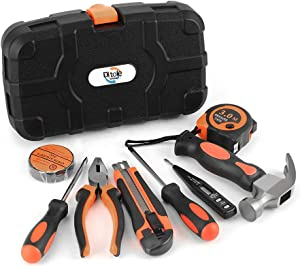 Ditole 9-Piece Small Tool Set with Plastic Tool Box Storage Case for Apartment,Garage,Dorm and Office,Durable and Portable home Basic tool kit for Men Women,Father's Day Gift from Daughter