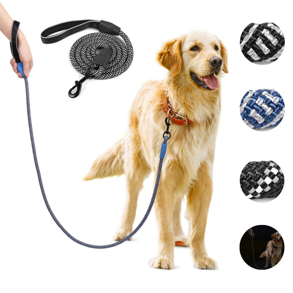Black 5FT Black 5FT YUDODO 5 FT Dog Rope Leashes with Comfort Grip and Reflective Strip Strong Nylon Dog Training Leash for Medium and Large Dogs