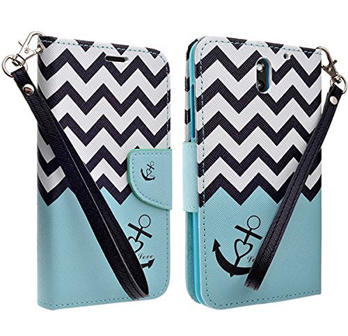 Customerfirst - Flip Wallet Pouch, Slim Folio Case with Kickstand, 2 Credit Card Slot Wallet Pouch Leather Wallet Folio Case, Credit Card ID Slots, Currency Pocket, Hand Strap For HTC - Cases Desire For 610 Teal Htc