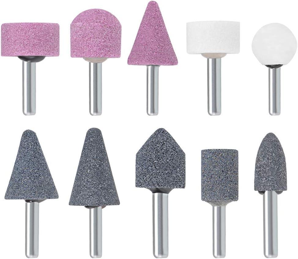 "1//8/"" Shank Wool Grinding Head Abrasive Wheel for Mould Stone Jade Glass 10Pcs 1/"""