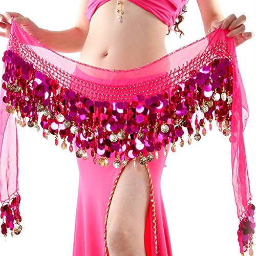 ROPALIA Womens Belly Dance Scarf Performance Bling Sequins Coins Hip Scarfs Rose Red (Shakira Best Dance Performance)