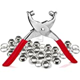 """CRAFTMEmore 1/4"""" Grommet Eyelet Setting Pliers with 100 Silver Aluminium Grommets & washers (1/4"""", Silver Grommets)"""
