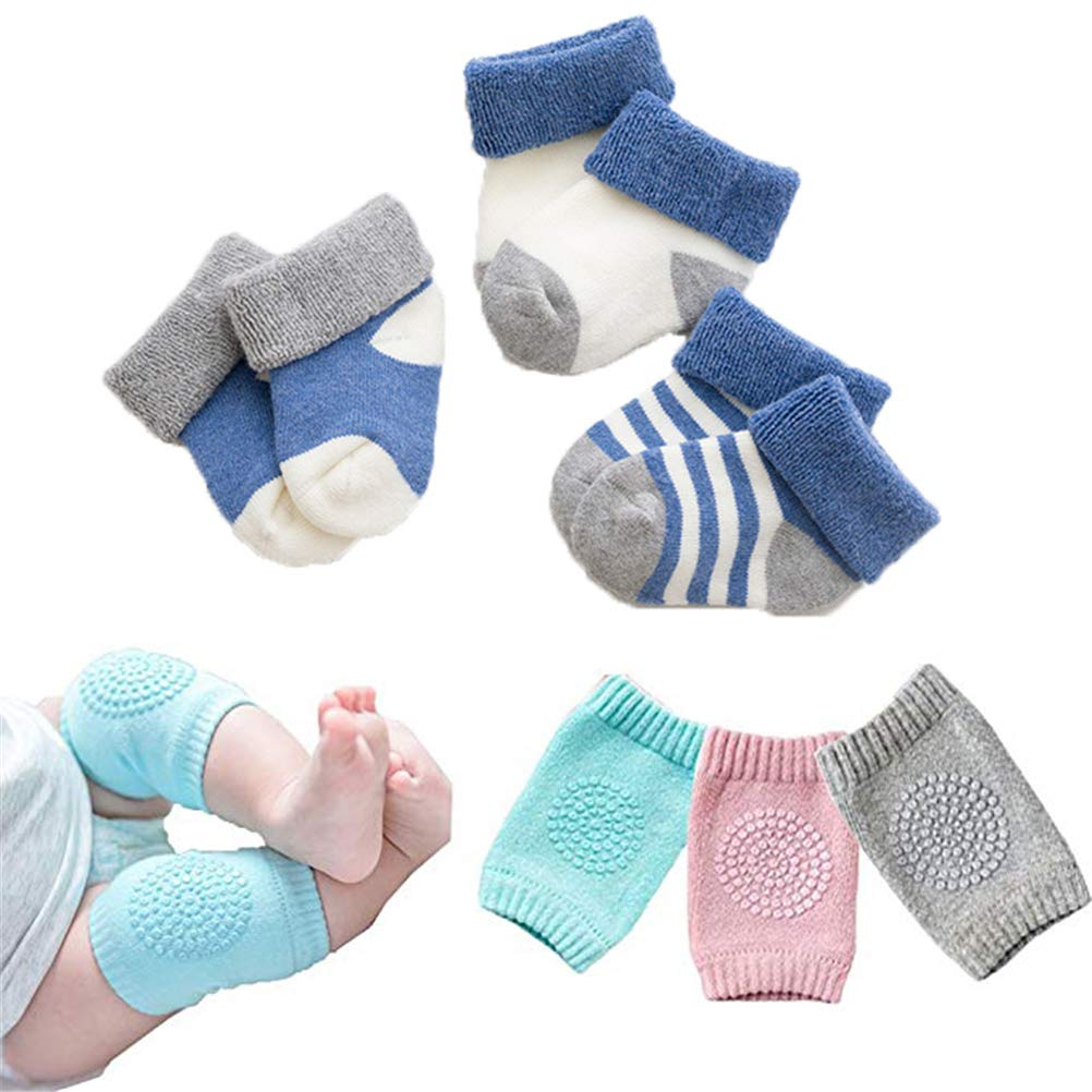 Lightton Baby Knee Pads for Crawling, High Elastic Anti-Slip and Protect infants Elbows and Legs for Boys and Girls(3 Pairs),Warm socks(3 Pairs)