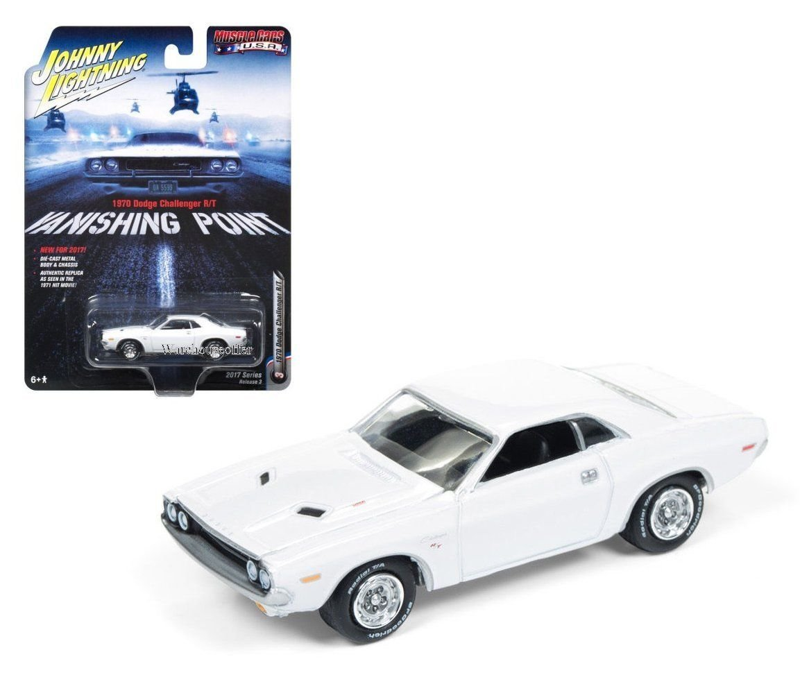 New 1 64 AUTO WORLD JOHNNY LIGHTNING MUSCLE CARS USA COLLECTION VANISHING POINT 1970 DODGE CHALLENGER R T Diecast Model Car By Auto World