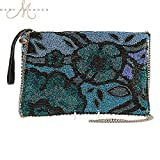MARY FRANCES Organically Grown Blue Beaded Floral Cross-body Zip Top Clutch