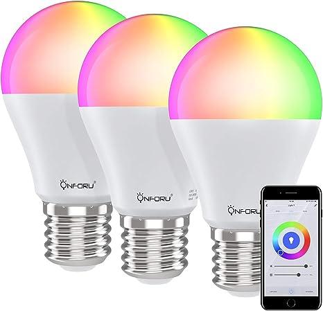 Onforu Bombilla Inteligente LED (3 Pack), Bombilla Alexa RGBW ...
