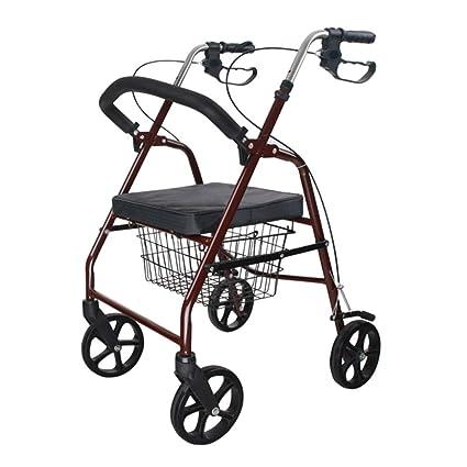 Carritos de la compra Carro de Compras de Ayuda Caminando Carro de Ruedas de Aluminio Rojo