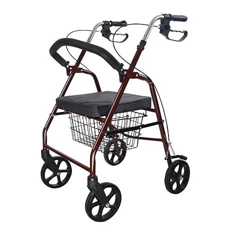 GTT Carro de Compras de Ayuda Caminando Carro de Ruedas de Aluminio Rojo Altura Regulable Plegable