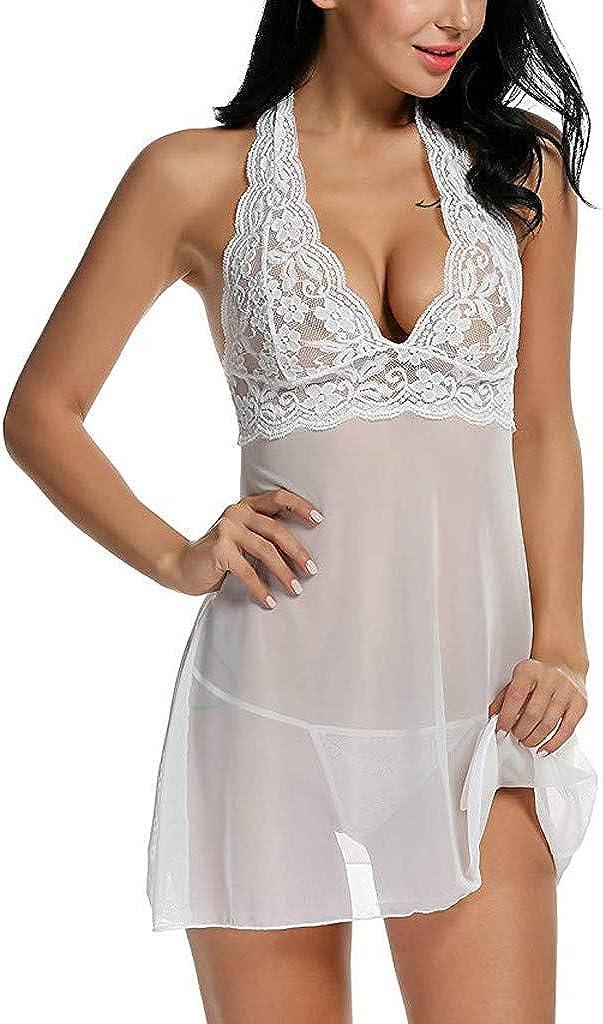 Babydoll Lingerie for Women Nightwear Lace Breathable Strap Chemise Halter Sleepwear Plus Size