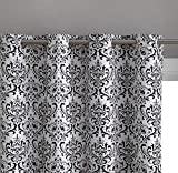 HLC.ME Damask Print 100% Full Blackout Curtains for Living Room, Bedroom, and Nursery | Noise Reducing, Room Darkening Grommet Privacy Curtains – Set of 2 (52″ W x 96″ L, Platinum White/Black)