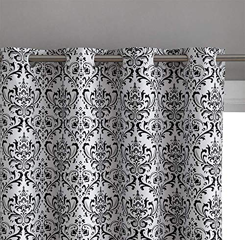 "Damask Print 100% Full Blackout Curtains for Living Room, Bedroom, and Nursery | Noise Reducing, Room Darkening Grommet Privacy Curtains - Set of 2 (52"" W x 63"" L, Platinum White/Black)"