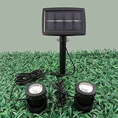 Solar Power 12 LEDs Landscape Spotlight Projection Light with 2 Submersible Lamps for Garden Pool Pond Outdoor Decoration & Lighting Underwater Light, Warm White