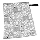 FSXDOG Outline Owl Pussy Cat Stylish Waterproof Wet Dry Bags Zipper Diaper Pail Bag for Reusable Diapers Or Laundry