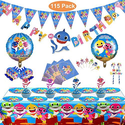 Birthday Supplies - Set of 115 Pcs Shark Party