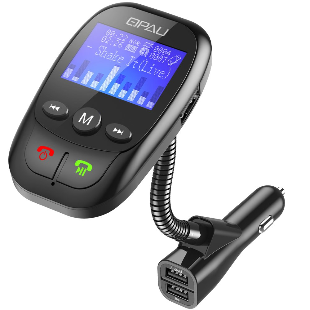 QPAU Bluetooth FM Transmitter, Wireless In-Car Hands-free Talking Music Active Showing W 1.44 Inch Display and 3 Ports USB Car Charger (Black)