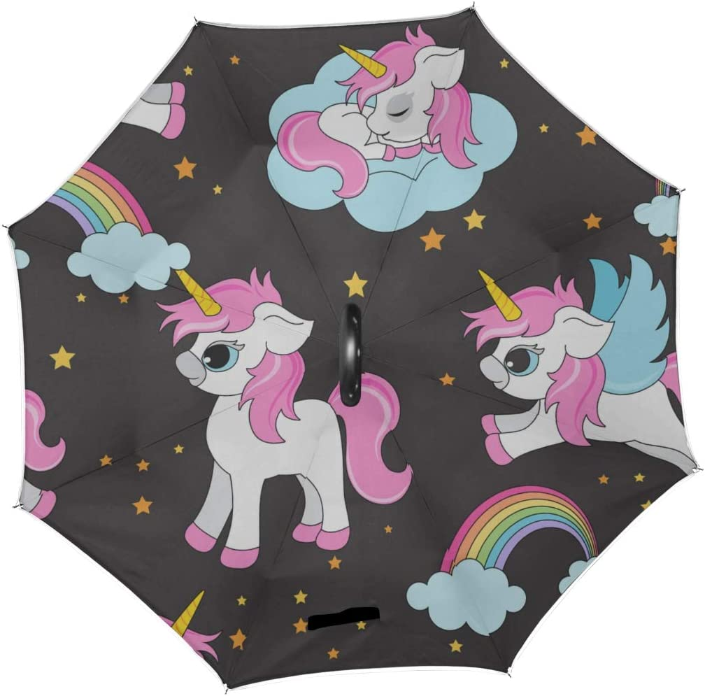 Double Layer Inverted Inverted Umbrella Is Light And Sturdy Cute Unicorns Pattern Magical Unicorns Reverse Umbrella And Windproof Umbrella Edge Night