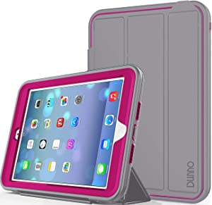 iPad Mini case iPad Mini 2 case iPad Mini 3 case DUNNO Heavy Duty Full Body Rugged Protective Case Whit Auto Sleep/Wake Up Stand Folio & Three Layer Design for Apple iPad Mini 1/2/3 (Grey/Rose)