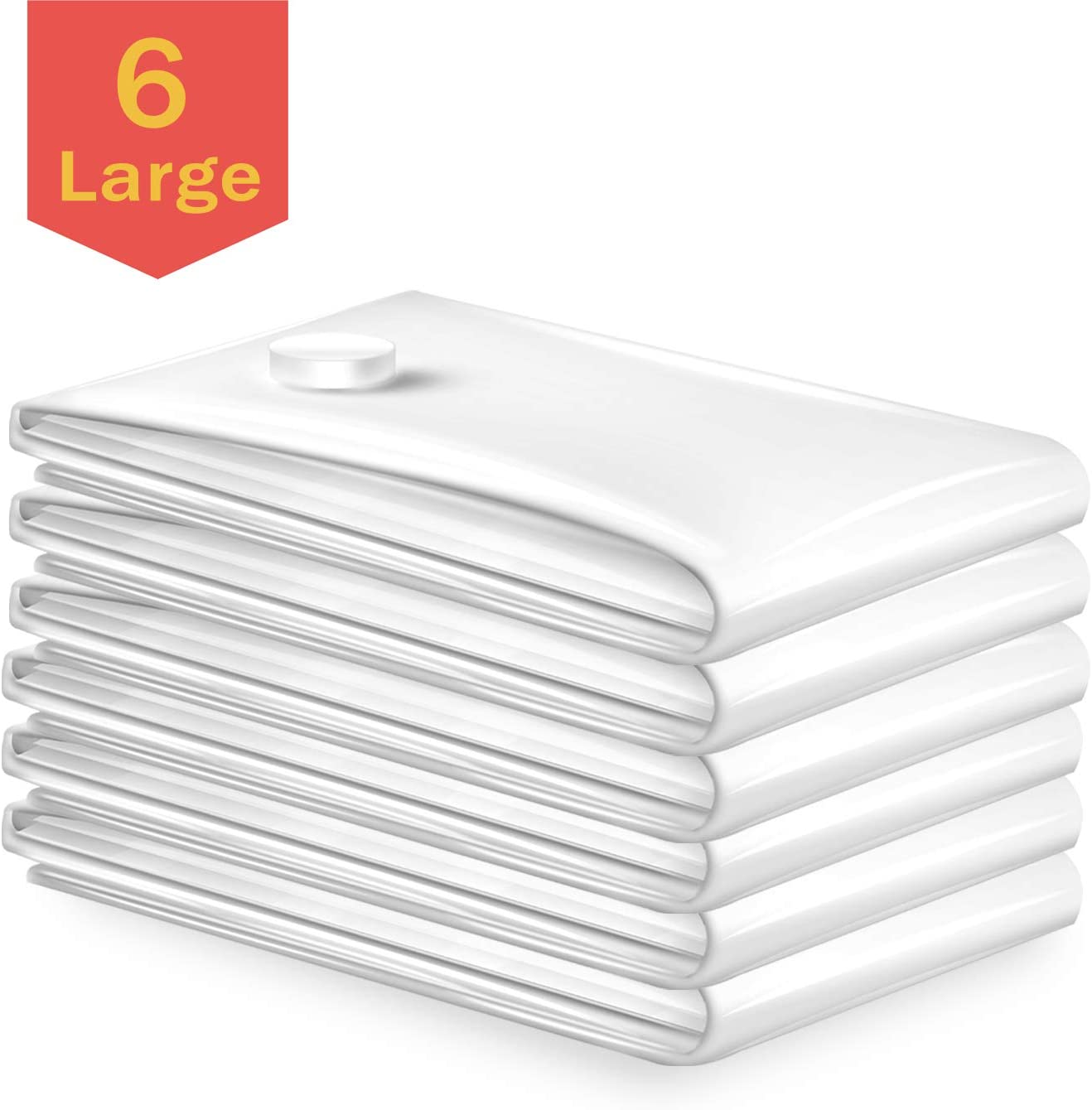 Vacbird Vacuum Storage Bags, Space Saver Storage Bags for Clothes, Blankets, Comforters, Pillows Home Use and Travel Storage Compression Bags (Large 6 Pack)