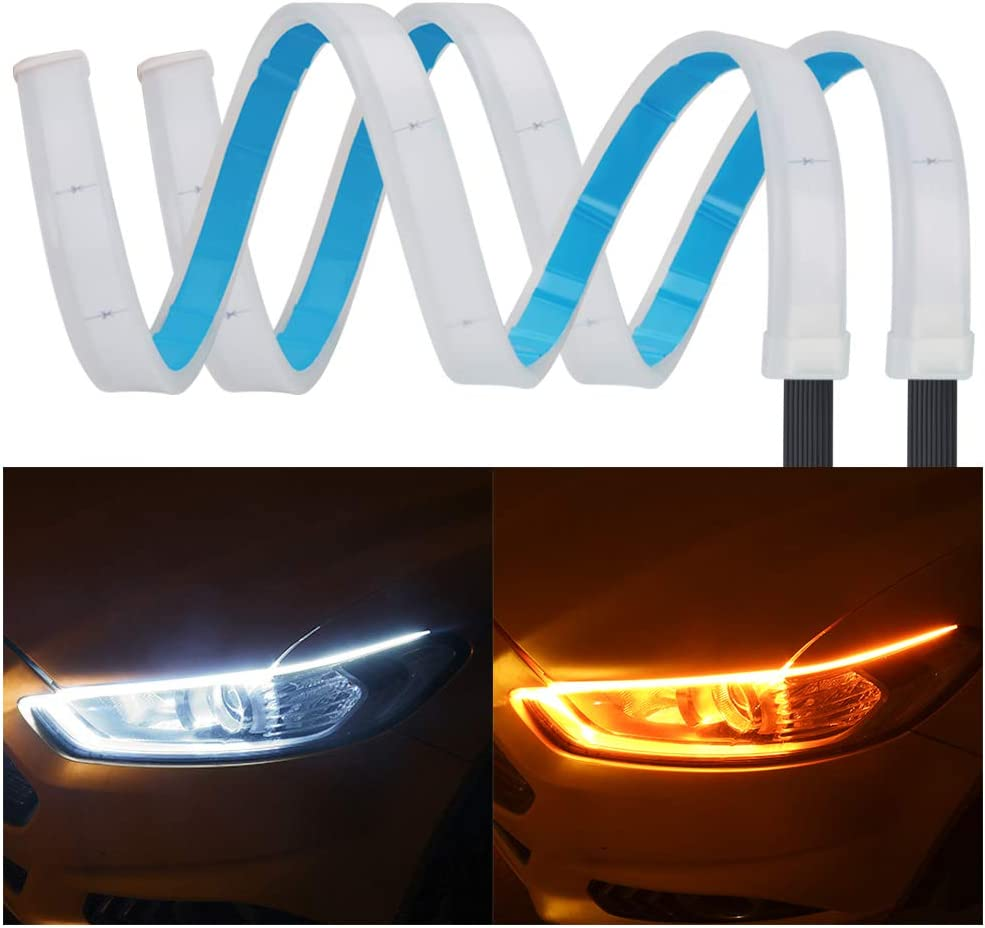 Car LED Strip Daytime Running Lights Waterproof LED Tube Strip Switchback Headlight and Turn Signal Lights Fit for Most Cars 60cm