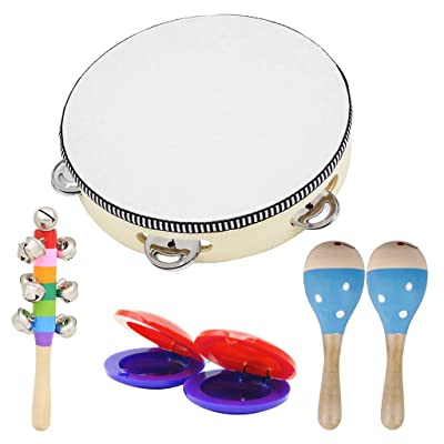 EAPTS Wooden Musical Toys 2 Maracas 1 Tambourine 2 Castanets 1 Hand Bell for Toddler Kids: Toys & Games