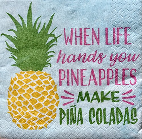 CTS Cocktail Beverage Napkins, Pineapples make Piña Coladas, 2 - Christmas Pineapple Tree