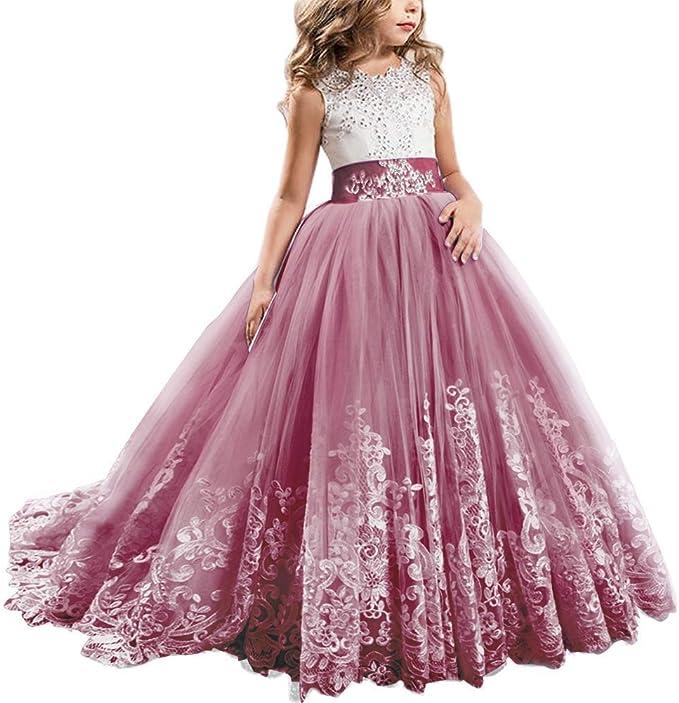 Ibtom Castle Festliches Madchen Kleid Pinzessin Kostum Lange Brautjungfern Kleider Hochzeit Party Festzug 14 Aprikose 12 13 Jahre Kleider Amazon De Bekleidung
