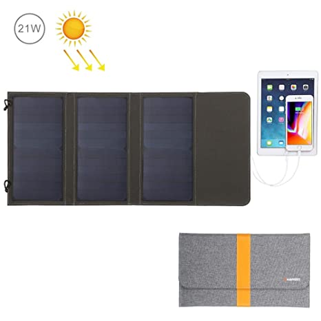 QWERDF Panel Solar 5V 21W Cargador Solar Plegable, A Prueba ...