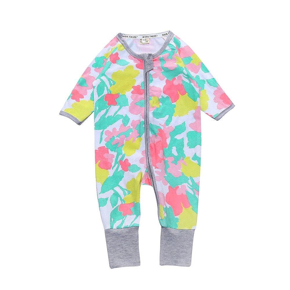Flower Baby Girl Zipper Pajama Sleeper Cotton Jumpsuit Romper Fuzhou Shang Ku Trade Co. Ltd.