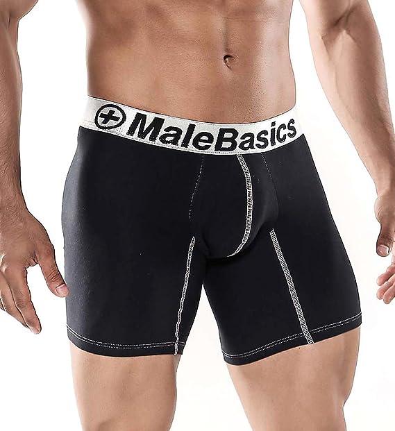MALEBASICS Hombres del algodón Lycra Atlethic Boxer Brief Negro