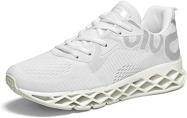 Monrinda - Zapatillas de running para hombre, zapatillas de gimnasia, zapatillas de gimnasia, Blanco (Weiß), 42 EU: Amazon.es: Zapatos y complementos