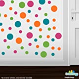 Set of 60 Circles Polka Dots Vinyl Wall Graphic Decals Stickers (Hot Pink / Lime Green / Orange / Turquoise)