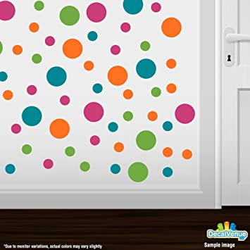 Set Of 60 Circles Polka Dots Vinyl Wall Graphic Decals Stickers (Hot Pink /  Lime Part 57