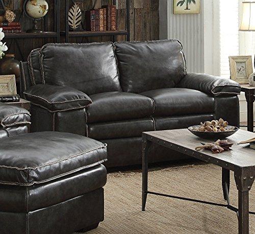 1PerfectChoice Regalvale Charcoal Top Grain Leather Loveseat