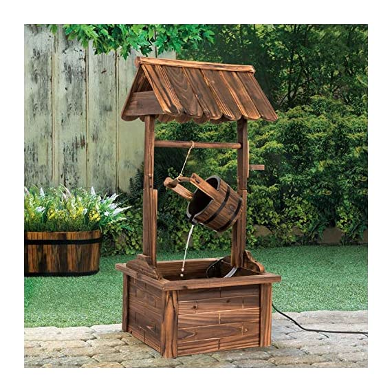 Worldrich 44-Inch Outdoor Garden Rustic Wood Wishing Well Water Fountain with Pump - UL Certified 120V Electric Pump- UL certified 120V electric pump serves as a powerful engine to keep the fountain flowing. High performance pump with 60Hz 3600r/min. Outdoor Deraction- This wishing well water fountain perfectly serves as a outdoor decoration for your backyard, patio, or garden. - patio, outdoor-decor, fountains - 61OSrP2oXgL. SS570  -