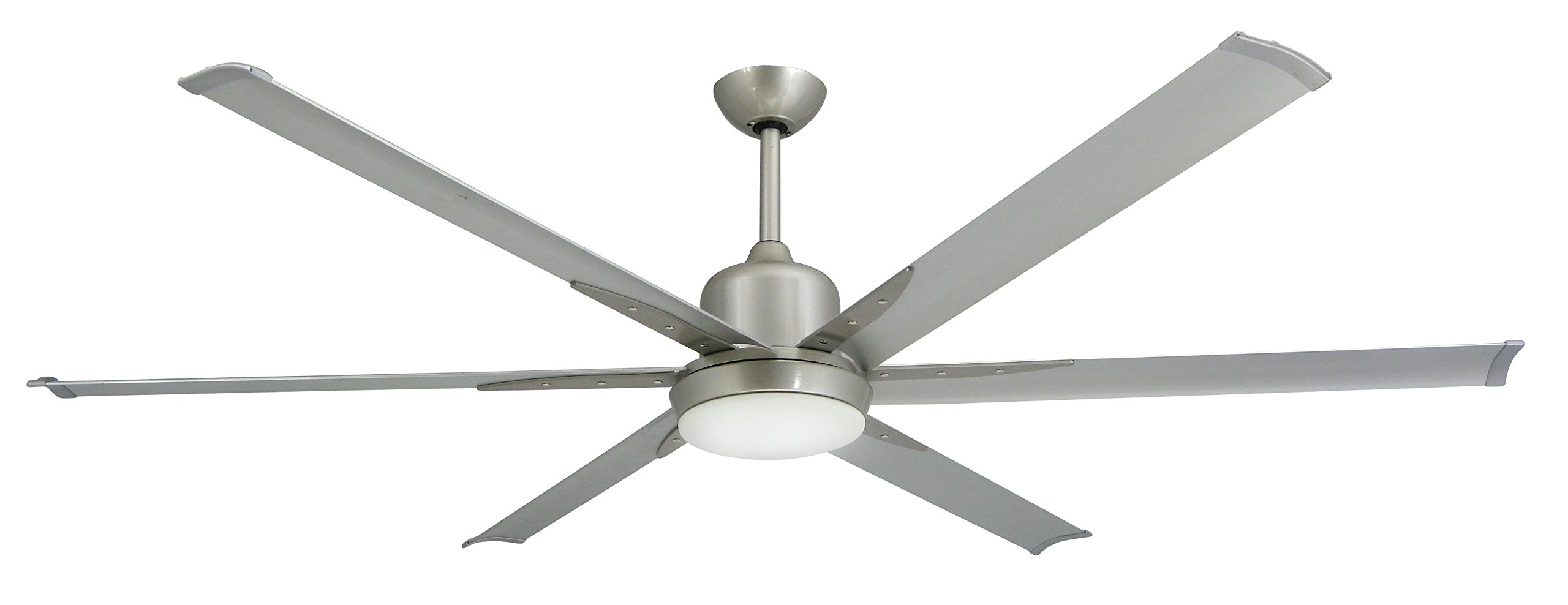 TroposAir Titan Brushed Nickel Large Industrial Ceiling Fan with DC-Motor, 72'' Extruded Aluminum Blades, Integrated Light and Remote