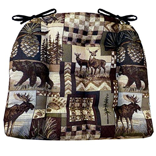 Needlepoint Chair Pad (Dining Chair Pad with Ties - Woodlands Peter's Cabin - Size Extra-Large - Latex Foam Fill Cushions - (Bear, Moose, Deer))