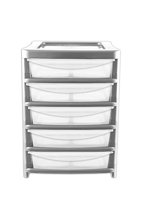 5 Drawer Plastic Storage Part - 28: A4 5 Drawer Large Tower Plastic Tall Storage Paper Tidy Unit - Office/Home/
