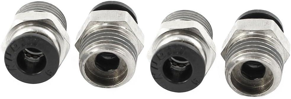 4/St/ück 1//4/PT Au/ßengewinde 6/mm Pneumatische One Touch Push In Joint Fitting de