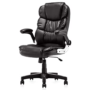 KERMS High Back Office Chair PU Leather Executive Desk Chair with Padded Armrests,Adjustable Ergonomic Swivel Task Chair with Lumbar Support (black2)