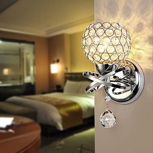 Reelva Modern Silver Chrome Crystal LED Wall Light Lamp Sconce Interesting Bedroom Wall Sconces Lighting