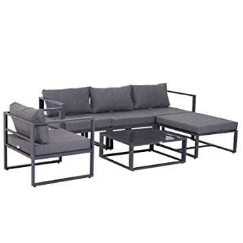 Outsunny Ensemble Salon de Jardin Design Contemporain Style Yachting ...